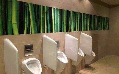 WC Anlage wird optisch mit einem bunten Digitaldruck hinter Glas ansprechend gestaltet.